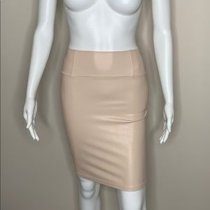 Beige WILFRED faux-leather pencil skirt - XSmall